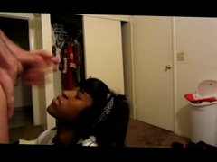 Amateur Black teen facial from white cock