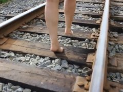 My wife barefoot railway walking