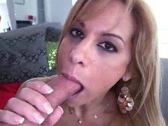 Gorgeous milf Alyssa Lynn sucking big tasty dick