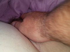 uncovering my wifes thick hairy pussy in the morning