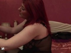 Chubby french redhead riding a guy