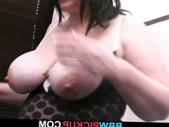 Busty brunette is picked up and pussy plowed