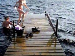 Average day in Denmark - Topless in the lake