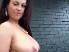 hot british brunette with big tits shows sexy body on sofa