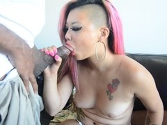 Pink haired Asian gets cum in her mouth
