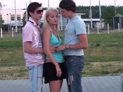 Shocking Public NAKED gangbang with gorgeous teen girl Part1