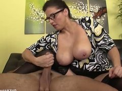 Titted Milf Handjib Demonstration