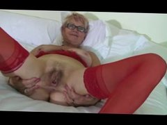 Red Stockings Granny Pleasuring on Bed BVR