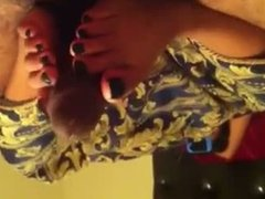 Cute exotic college teen gives footjob