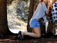 Amateur Couple In Woods