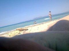 Wifey  little strocking on beach and people walking arround