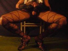 Sexy Crossdresser Cums in Nylon