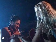 Big boobed blonde fucked in public in a night club