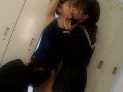Japanese schoolgirls enjoy lesbian kissing in School