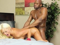 Hot blonde Milf gets a big black dick to play with