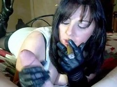 Leather Gloves Handjob Blowjob