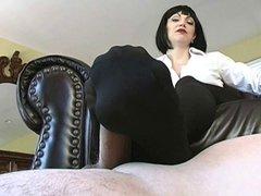 Femdom Black Pantyhose Footjob