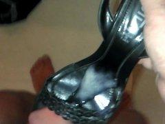 Fuck & load my cum to close friend's wife's black sandals