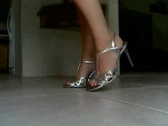Bella Showing Off Her Sexy Feet In Silver Strapy High Heels