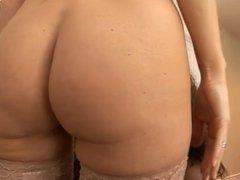Black and white babe in lingerie dildo games