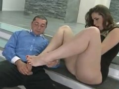 hot brunette footjob