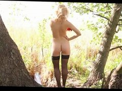 Gorgeous blonde slowly removes her sexy lingerie