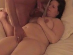 Cumming on a BBW's tits and face