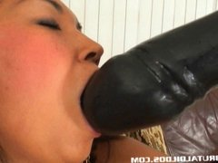 Petite Thai amateur gaped from a brutal dildo insertion