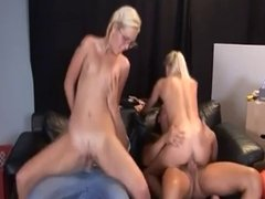 Two young blondes gangbang