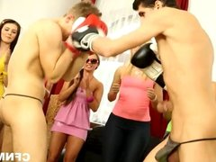 Naughty college teens fuck two dudes at the CFNM party