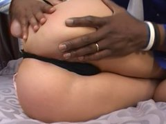 Blonde whore DP'd by two black dicks