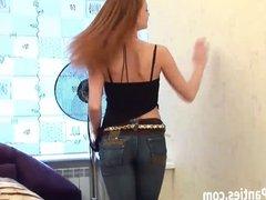 18yo beauty Carolina in skin tight blue jeans