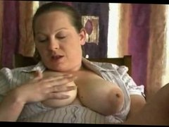 Fat BBW GF with nice Tits fingering and tasting her Pussy