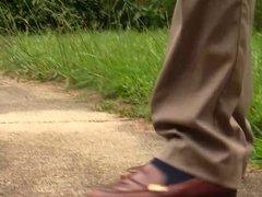 Caroline's brown work loafers