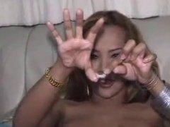TS Talisha strokes her clit.