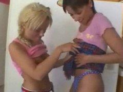 Lesbian MILFs licking ass in the kitchen