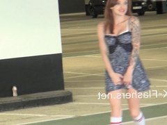 Exhibitionist madster Paige Fox flashes carparks and pleasur