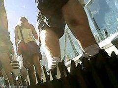 Upskirt - Nice blonde babe white panties