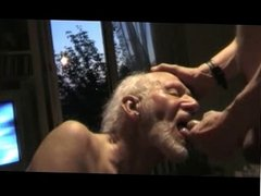 Old man swallowing cum