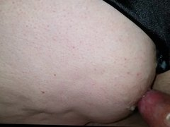 cumming on the wifes tired white ass with black pantys