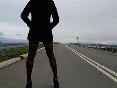Outdoor crossdresser on public street - lingerie & heels