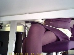 Office girl pantyhose up skirted
