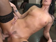 Stockings Wearing India Summer Gets Pussy Eaten On A Desk