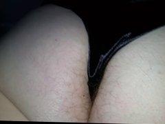 feeling her soft white hairy asscrack in black silk pantys