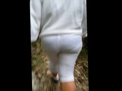 Wife VPL in the park See though tights Leggings panties
