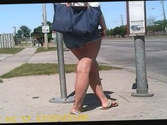 Candid Leggy Asian American Teen at Bus Stop