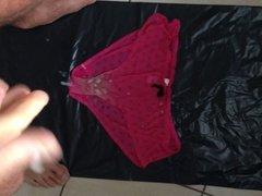 Massive cum shot over my wife's pink panties