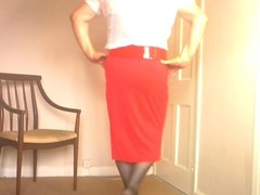 Dee In White Blouse and Red Skirt
