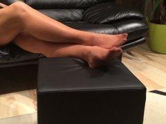 Mystepmom long nylon stockings footplay