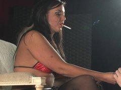 Lucy Devine Marlboro reds smoking facesitting
